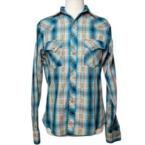 WRANGLER Shirt Long Sleeve Button Down Plaid